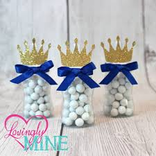 Blue And Gold Baby Shower Decorations Little Prince Baby Bottle Favors In Royal Blue Glitter Gold