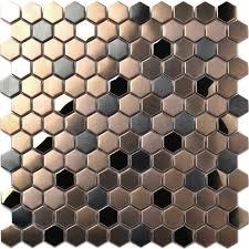 mosaic shower floor tile. Hexagon Stainless Steel Brushed Mosaic Tile Bronze Copper Color Black Bathroom Shower Floor Tiles TSTMBT021
