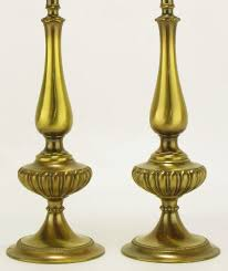 american pair rembrandt lighting solid brass regency table lamps for