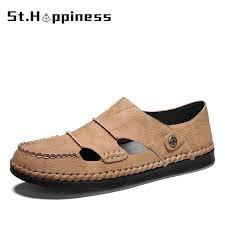 New <b>Summer Men</b> Handmade <b>Leather</b> Sandals Fashion ...