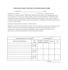Employee Direct Deposit Authorization Agreement Direct Deposit Template