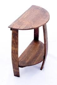 wine barrel half round end table inside idea 9