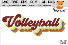 Volleyball Word Retro Style Volleyball Word Art Svg