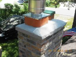 we removed existing chimney re built with chimney block installed manufactured stone and cement cap we also installed a new chimney lining system