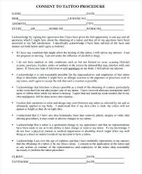 Tattoo Consent Forms Mesmerizing Research Consent Form Template Interview Tattoo Samples 44 Free