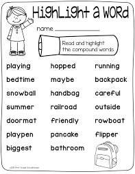 Read the words and highlight the compound words. | School ...