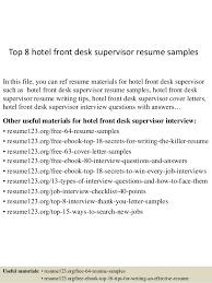 Hotel Front Desk Resume Samples Top 8 Hotel Front Desk Supervisor Resume Samples