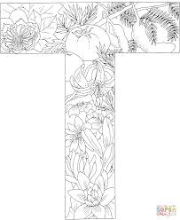 Small Picture Letter T with Plants coloring page Free Printable Coloring Pages