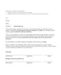 Employee Warning Letters Template Employee Warning Letter Template Letters In Formal Written Notice