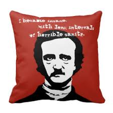 edgar allan poe quote pillows decorative throw pillows zazzle edgar allan poe insane quote silhouette throw pillow