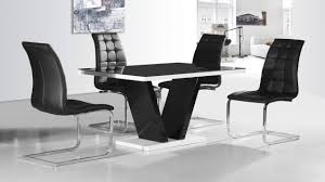 black glass high gloss dining table and 4 chairs homegenies dining table and 4 chairs white