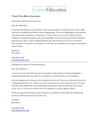 Thank You Letter Examples Sample Thank You Letter Interview Crna
