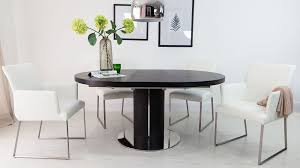 round dining table and real leather dining chairs