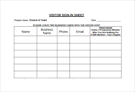 Sign In Sheets Template Visitor Sign In Sheet Template Template Business