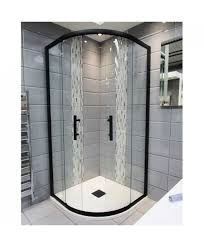 1200mm x 900mm double sliding door black offset quadrant shower enclosure and shower tray includes free shower tray waste