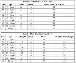 Anarkali Measurement Chart Measurement Tilak Silk Store