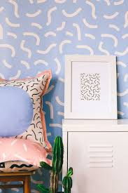 Memphis can be sophisticated, by using soft colours and the same prints for  your walls