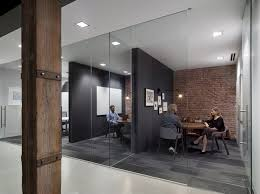 brick office furniture. Interior:Cozy Meeting Room Design With Brick Wall And Black Divider Also Glass Screens Office Furniture