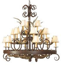 coues antler wrought iron chandelier 14 light