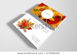 Two Business Cards Autumn Leaves Cut Stock Vector Royalty Free