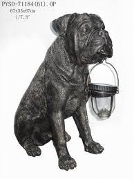 bull mastiff dog with solar light