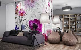 Wallpaper Decorating Living Room Living Room Pictures With Large Floral Wallpaper As Wall