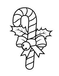 Small Picture Candy Cane with Ribbon and Little Bell Coloring Page Download