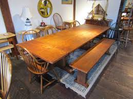 trestle table made from thick antique pine flooring sourced from upstate new york made by scott turner 81 3 4 long x 40 wide x 31 tall