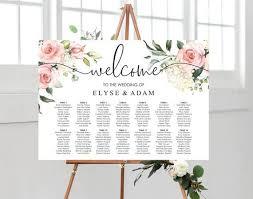 Printable Blush Floral Wedding Seating Chart Editable