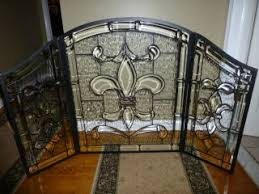 glass fireplace screen. Clear Stained Glass Fireplace Screen. Wow...if I Only Had An Old Fashioned Fireplace. Screen