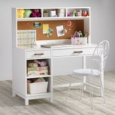 white desk. Furniture, Contemporary White Desk And Hutch Combined With Classic Chair For Girls Room