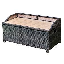 wicker deck box patio storage bench
