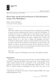 Pdf Poetic Style And Social Commitment In Niyi Osundares
