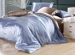second skin sky blue and camel 4 piece cellosilk duvet cover sets