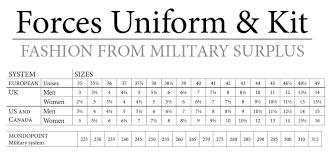 Shoe Size Conversion Chart Forces Uniform And Kit