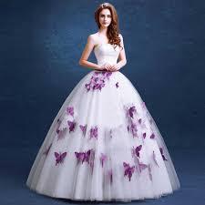 elegant purple wedding dress 2016 fashionable butterfly appliques