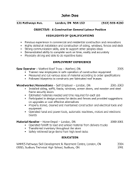 General Laborer Resume 11 Objective Examples Manual 15 For Labor