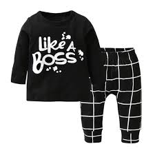 Pants Shirt New Baby Boy Clothes Letters Printed Long Sleeves T Shirt Pants