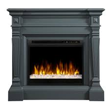 dimplex heather 50 in mantel in wedgewood grey with 28 in electric fireplace with glass ember bed