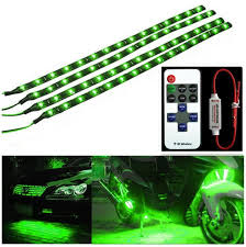 Green Led Light Strips New Wireless Remote Control Motorcycle Green LED Light Strip Kit For
