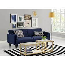 modern navy blue futon sofa bed with white coffee table and striped rugs