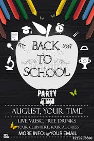 Back To School Invitation Template Back To School Party Invitation Poster Template Vector Illustration