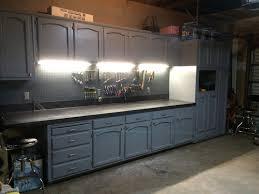 refurbished kitchen cabinets for the ultimate work bench garage fair workbench lighting ideas