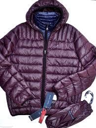 195 tommy hilfiger men warm winter coat packable jacket down puffer burdy l