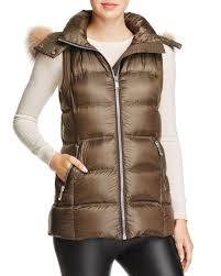 andrew marc women s claire fox fur trim down vest