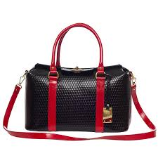 Designer Bags Made In Italy Amazon Com Aura Italian Made Black Red Leather Large