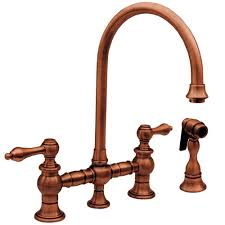 copper kitchen faucet. vintage iii 2-handle standard kitchen faucet with side sprayer in antique copper o