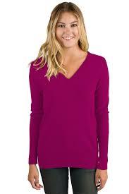Berry Cashmere Long Sleeve Ava V Neck Sweater - JENNIE LIU