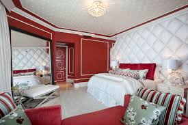 Red Bedroom Bench Sleek Interior Bedroom With Wooden Accents On The Bed Frame And