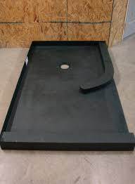 lightweight ready for tile shower pan with a curved curb before installation innovate building solutions